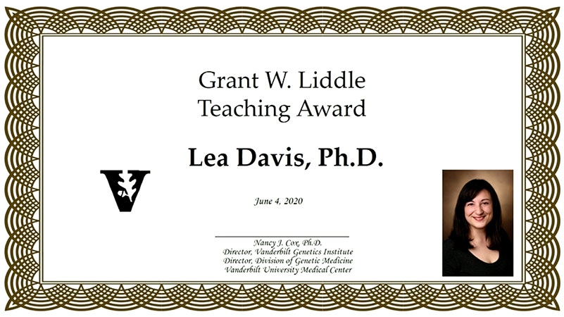 Lea Davis receives Division of Genetic Medicine 2020 Grant Liddle Teaching award