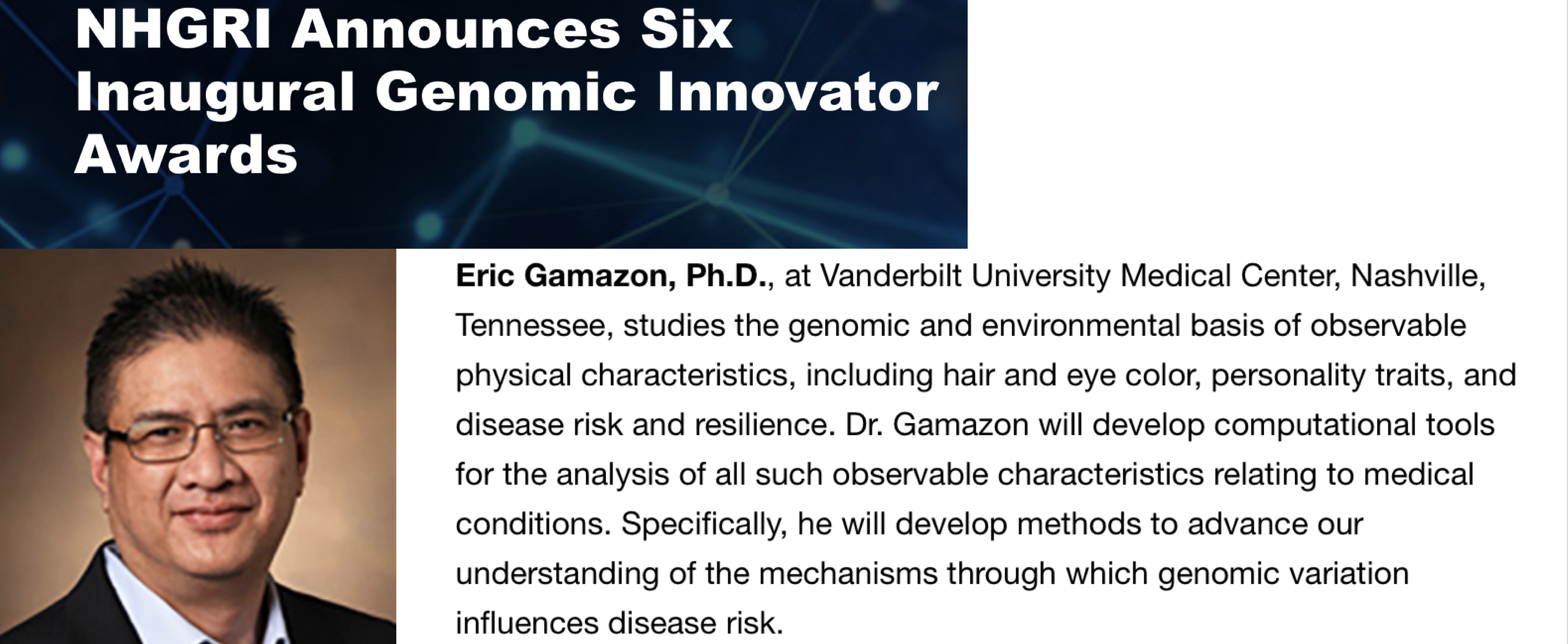 Eric Gamazon, Ph.D., receives inaugural National Human Genome Research Institute Genomic Innovator Award