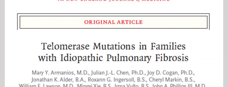 Studies of families with pulmonary fibrosis revealed mutations in telomerase genes (TERT and TERC) cause pulmonary fibrosis in families (Armanios et al. NEJM 2007. 356:1317-26.)